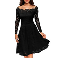 Spandex & Polyester A-line One-piece Dress, different size for choice & off shoulder & knee-length, embroider, floral, more colors for choice, Sold By PC