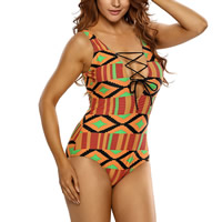Spandex & Polyester Lace Up One-piece Swimsuit, padded, printed, geometric, yellow, Sold By PC