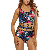 Spandex & Polyester One-piece Swimsuit, hollow & breathable & padded, printed, floral, Sold By PC