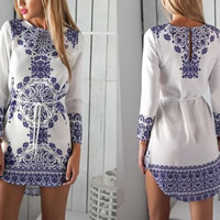 Line Autumn and Winter Dress short front long back printed floral white Sold By PC