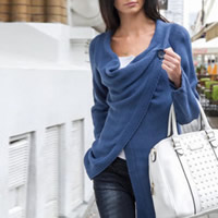 Polyester & Cotton Women Coat knitted Solid Sold By PC