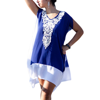 Polyester One-piece Dress embroider floral blue and white Size:Free Size Sold By PC
