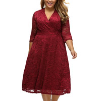 Spandex   Polyester Plus Size   A-line Autumn and Winter Dress embroider floral red