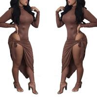 Nylon side slit   Asymmetrical Sexy One-piece Dress Solid coffee