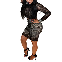 Nylon Crop Top Nightclub Set hollow with Lace skirt & top patchwork black Sold By PC