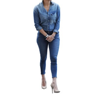 Polyester Women Casual Set long sleeve shirt   Pants patchwork blue