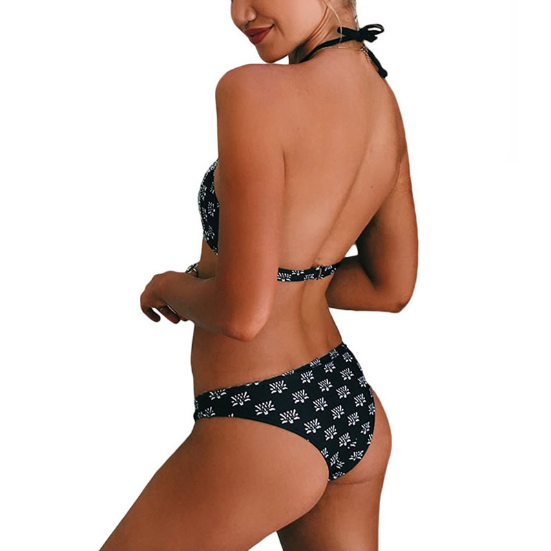 Spandex & Polyester Lace Up Tankinis Set, different size for choice & padded, printed, floral, black, Sold By Set