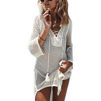Polyester & Cotton Lace Up Beach Dress hollow beige Size:Free Size Sold By PC