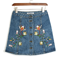 Denim Skirt embroidered floral blue Sold By PC