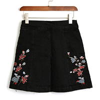 Denim Skirt embroidered floral Sold By PC