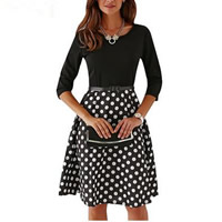 Acrylic & Polyester & Cotton Autumn and Winter Dress with belt printed dot black Sold By PC