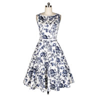 Polyester One-piece Dress with belt printed floral blue Sold By PC
