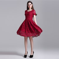 Polyester One-piece Dress hollow with Lace patchwork Sold By PC