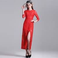 Polyester front slit & Mermaid Long Evening Dress hollow with Lace floral Sold By PC