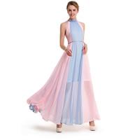 Chiffon Plus Size One-piece Dress off shoulder   hollow patchwork