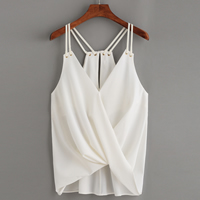 Chiffon Sleeveless Nightclub Top Solid white Size:Free Size Sold By PC