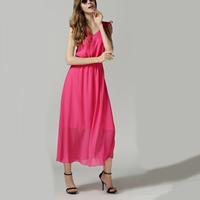 Acrylic   Chiffon Long Evening Dress backless plain dyed patchwork pink