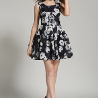 Gauze   Cotton Pleated One-piece Dress printed floral black