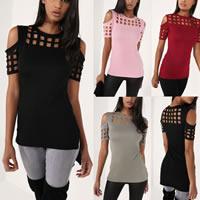Cotton Women Short Sleeve T-Shirts short front long back   off shoulder   loose   hollow plain dyed Solid