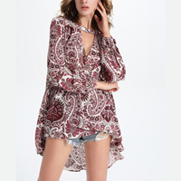 Cotton Women Long Sleeve Blouses short front long back   loose   hollow printed floral red