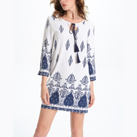 Line A-line One-piece Dress printed geometric white Sold By PC