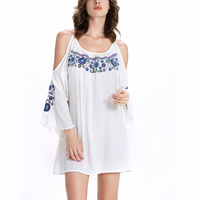 Rayon   Polyester One-piece Dress off shoulder   loose embroider floral white