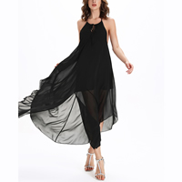 Chiffon   Polyester front slit   Asymmetrical One-piece Dress backless plain dyed Solid black
