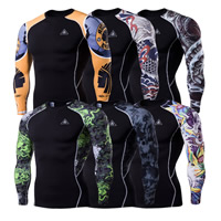 Milk Silk   Polyester Men Quick Dry Tops skinny printed different pattern for choice black