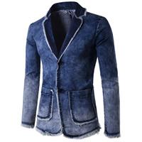 Denim Men Leisure Suit plain dyed patchwork blue Sold By PC