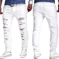 Polyester   Cotton without belt   Middle Waist Men Casual Pants frayed Solid white