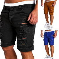 Polyester   Cotton Middle Waist Men Capri Pants frayed patchwork