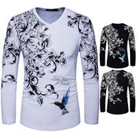 Cotton Men Long Sleeve T-shirt printed floral