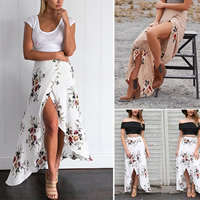 Chiffon   Polyester front slit   Asymmetrical Skirt printed floral