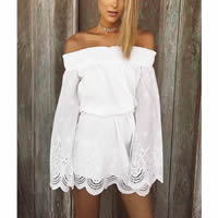 Chiffon   Polyester One-piece Dress backless off shoulder   hollow Solid white Sold By PC