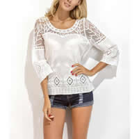 Cotton Swimming Cover Ups hollow   transparent embroider patchwork white Size:Free Size Sold By PC