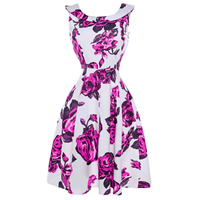 Polyester   Cotton One-piece Dress printed floral fuchsia