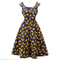Polyester   Cotton One-piece Dress printed floral yellow