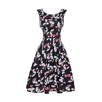 Polyester   Cotton One-piece Dress printed floral black