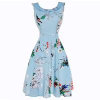 Polyester   Cotton One-piece Dress printed floral blue