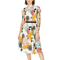 Polyester   Cotton A-line One-piece Dress printed floral white