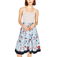 Cotton A-line Skirt printed floral Sold By PC