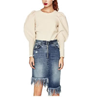 Denim A-line & Asymmetrical & Miracle Tassel Skirt plain dyed Solid blue Sold By PC
