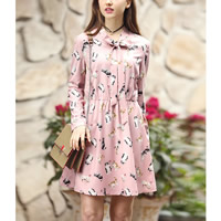 Polyester   Cotton Plus Size One-piece Dress printed shivering pink
