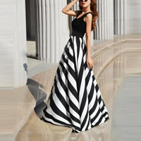 Polyester   Cotton One-piece Dress printed striped