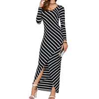 Milk Silk front slit & Asymmetrical Autumn and Winter Dress printed striped black Sold By PC