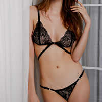 Acrylic & Spandex Sexy Bra Set hollow embroider Solid Sold By Set