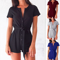 Cotton Women Romper plain dyed Solid Sold By PC