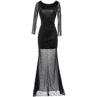 Cotton Long Evening Dress backless short front long back & transparent with Sequin & Gauze patchwork black Sold By PC