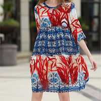 Polyester One-piece Dress printed leaf pattern