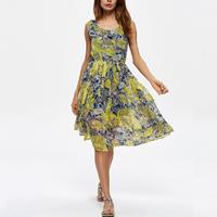 Chiffon One-piece Dress printed floral yellow